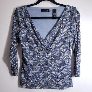 Axcess Liz Claiborne Blue Geometric Blouse